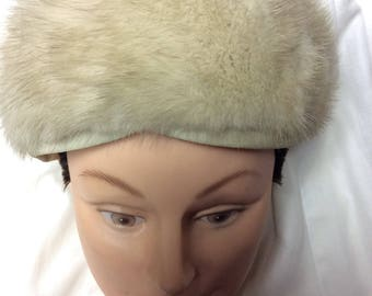 A 1960s Fashionable Fur Warm Winter Woman's Hat Believed to be Rabbit Fur Sears Roebuck and Co. Tan Tam Pillbox Hat