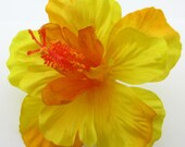 "4.5"" Yellow Mango Orange Hibiscus Poly Silk Flower Hair Clip"