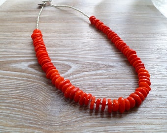 """Red Coral Sea Bamboo Necklace UK made 21"""""""