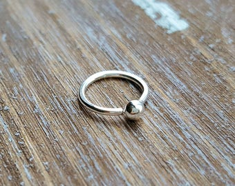 Nose Ring, 18g Argentium Silver Ball Hoop Earring, Piercing Jewelry for Nose, Lobe, Cartilage - Choice of Size