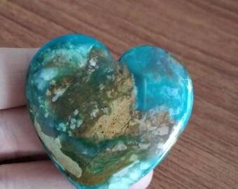 Natural gemstone blue opal heart pendant,41x41x10mm,21.9g