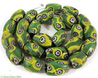 25 Millefiori Venetian Trade Beads Yellow and Green African 107377