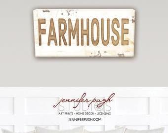 Farmhouse Sign 8x18 Art Print  - Vintage, Farmhouse, Word Art, Kitchen, Home, Wall Decor -Brown, White
