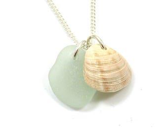 Sea Glass Seashell Sterling Silver Necklace, Bridesmaid, Beach Wedding, Bridal Jewelry s127