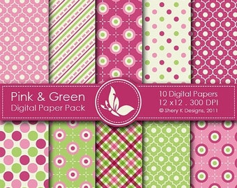 40% off Pink & Green Paper Pack - 10 Printable Digital papers - 12 x12 - 300 DPI