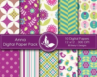 40% off Anna Paper Pack - 10 printable Digital Scrapbooking papers - 12 x12 - 300 DPI