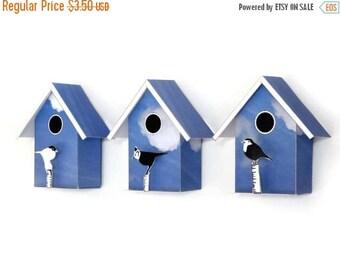 3 Small Birdhouses, Printable  DIY kits, Decorative Mini Birdhouses