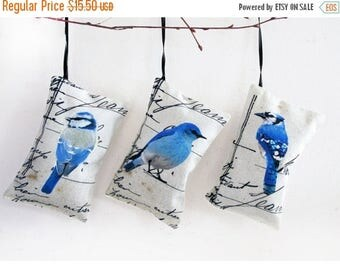 3 organic Lavender Sachet, french lavender mini pillows, blue birds collection, Blue New Year Fragrant Home Decor