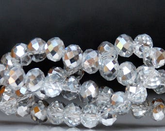 25 pcs 6x4mm Half Silver Half Clear Faceted Rondelle Glass Beads