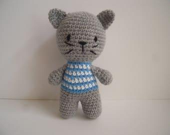 Crocheted Stuffed Amigurumi Cat/Kitten with Blue and White Striped Shirt