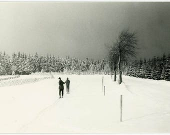 """Vintage Photograph """"The Lost Winter Walkers"""" Black & White Interior Design Mood People Holding Hands Odd Weird Surreal Photo Picture - 49"""