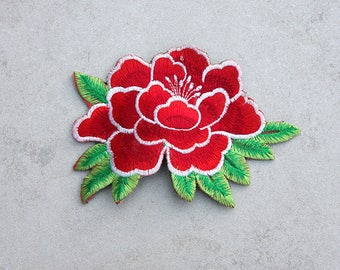 Red Peony Embroidered Applique Hair Clip // Flower Hair Clip // Colorful Hair Accessories // Gift for Her // Festival Accessories