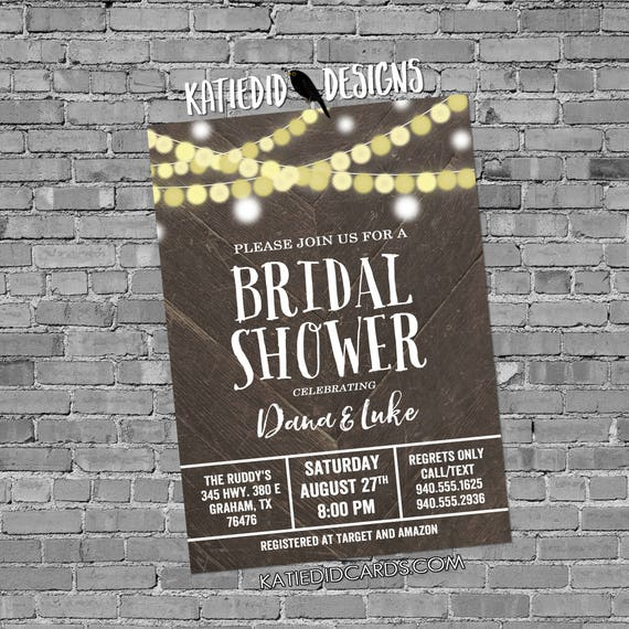 string lights Bridal shower invitation Couples Bridal Invitation stock the bar after party Rehearsal Dinner co-ed gay 12127 Katiedid Designs