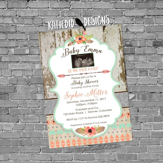 tribal baby shower invitation BOHO bridal shower wedding arrows feathers wood gender neutral gender reveal 1445c shabby chic sonogram photo