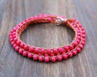 Pink Wrap Bracelet, Everyday Bracelet, Layering Bracelet Stack, Boho Bracelet, Boho Summer Bracelet, Simple Bracelet, Seed Bead Bracelets