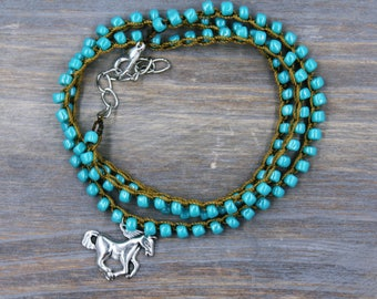 Gift for horse lover etsy horse jewelry gift for horse lover horse bracelet turquoise bracelet horse lover negle Image collections