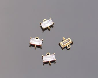 Gold rectangle charm with cubic zirconia, small dangle connectors, Bead findings, Crystal Stone Bead, 2 pc, L817397