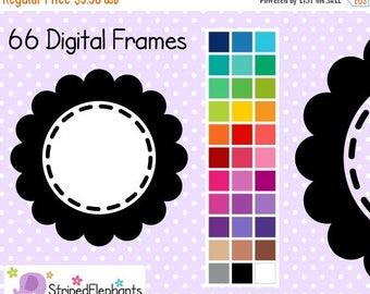 40% OFF SALE Stitched Flower Digital Frames 1 - Clip Art Frames - Instant Download - Commercial Use