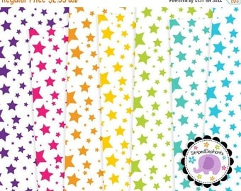 40% OFF SALE Crazy Star Digital Paper Pack White, Stary Digital Scrapbook Papers, Stary Digital Backgrounds, Commercial Use