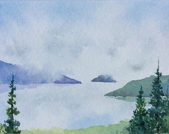 ACEO Original watercolor painting - Approaching the lake