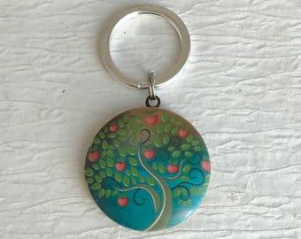 Heart Tree Locket Keychain, family tree locket, tree of life key chain, colorful tree keychain, teacher gift, locket for child