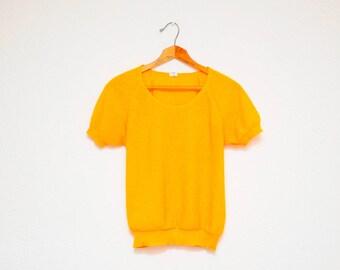 80's top: mango yellow shirt, raglan style, acrylic, knit blouse, marigold color, short sleeve shirt, basic, mexican vintage, summer, M size