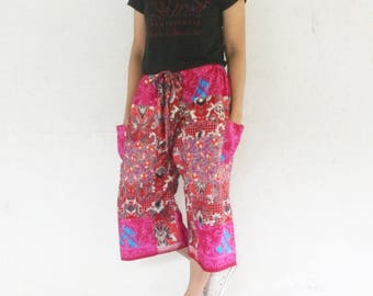 3/4 Hand made  patchwork Thai traditional print blue and white   tone , Thai batik  harem  pants and elastic waist,spa, yoga,hippie pants.