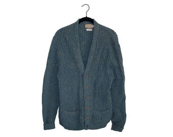 Vintage Traverse Bay Woolen Co. 100% Pure Shetland Wool Heather Green Button Up Cardigan Sweater, Made in USA - Medium