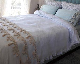 Hand crochet tassel bedding bedspread -coverlet Turkish blanket  ivory Lightweight super KING queen woven natural cotton Shabby chic bedding