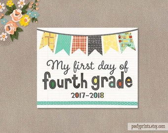 First Day of 4th Grade Notebook Printable Sign - 8 x 10 Printable First Day of Elementary School Sign - INSTANT DOWNLOAD - 503