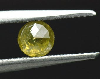 0.75ct 4.7mm round rose cut diamond deep yellow 4.7 by 3.1mm