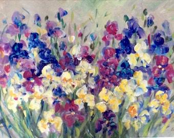 "Irises original floral painting 24 x 36"" large original painting"