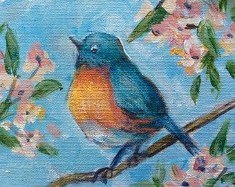 "Bluebird painting mountain bluebird original painting 5 x 7"""