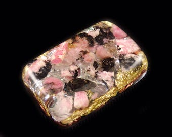 Pocket Orgonite® with Rhodonite, Morgonite, Fluorite, Tibetan Crystal, Rhodizite Phenacite Petalite Selenite Tourmaline, Elite Shungite (g32