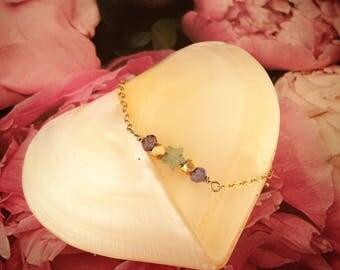 Jade and tanzanite gold plated brass bracelet
