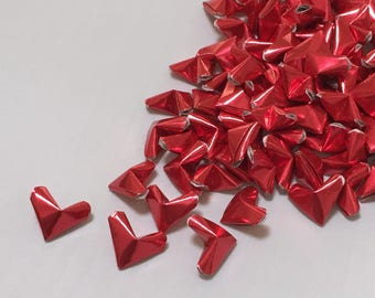 Small Origami Hearts (100): Red Foil Paper Hearts