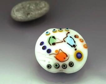 White lentil bead White focal bead White lampwork bead etched lampwork focal bead lentil bead flat Miro Made to Order Anne Londez