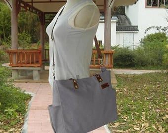 On Sale 20% off Gray canvase messenger tote bag, custom name tag shoulder bag, multi pockets large diaper bag with leather straps in 13 colo
