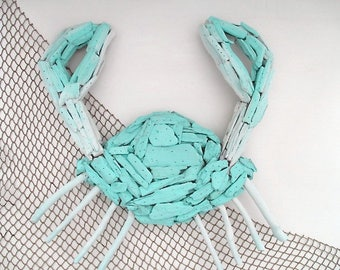 Large Nautical Driftwood Crab, Paint Washed Turquoise, Wall Decor