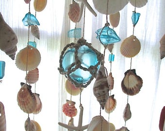 Wind Chimes, Glass Fish Float/Beach Glass/Starfish/Shells, Turquoise/Aqua, Bamboo