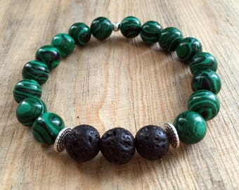 Green Malachite Essential Oil Diffuser Bead Bracelet