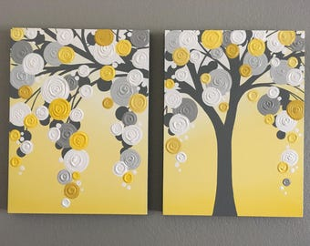"Yellow and Gray Textured Tree, set of two 18x24"" Ready to Ship, Modern Acrylic Painting"