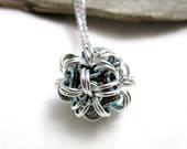 Silver, Sky Blue and Bronze Chainmaille Ball Necklace - Japanese Dodecahedron