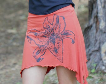 Pixie Skirt Tiger Lily Screen Print Orange Organic Soy Cotton