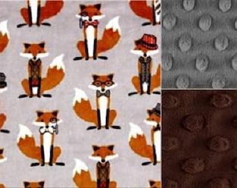 Baby Boy Minky Blanket Foxes/Minky Stroller Blanket/Baby Shower Gift