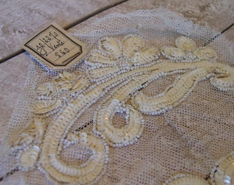 ONE Antique French Beautifully Beaded Sequin Appliqué - listing is for ONE only