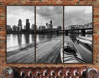 B&W Portland Skyline Canvas  Art, Large, Portland Canvas, Portland Art, Portland Photo, Large Wall Art, Portland Wall Art, Portland Decor