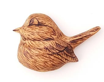 Hand carved bird pin/brooch, Butternut wood