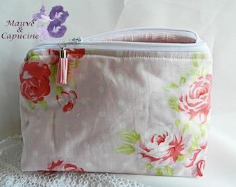 Make-up bag in pink pastel fabric