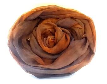 Tissue Silk (Chiffon)  fabric hand dyed